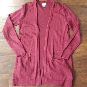 Old Navy maroon open cardigan medium